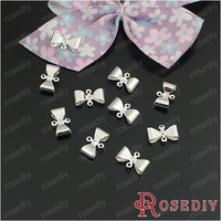 (21051)Free Shipping Wholesale Fashion Brass Earrings Charms & Pendants 12*7MM Silver color Copper Bow 50PCS
