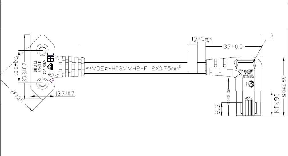 5m AC power cord EU Euro type angled 90 degree for samsung LED Smart TVs IEC C7 Figure 8 lead