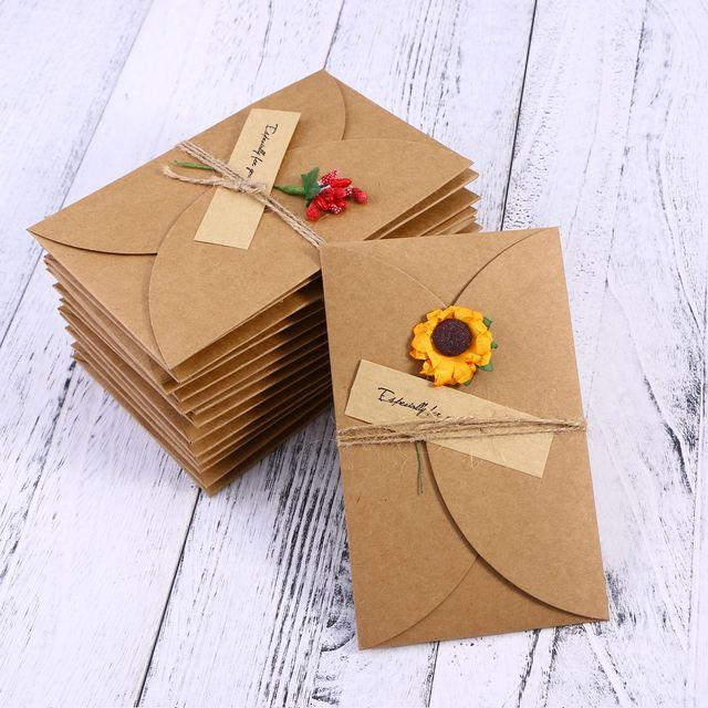 16pcs Vintage Kraft Paper Greeting Diy Handmade Dried Flower Wish