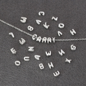 Anenjery 925 Sterling Silver A~Z Initial Letters Heart Shaped Pendants Charms Chain Necklace S-P363