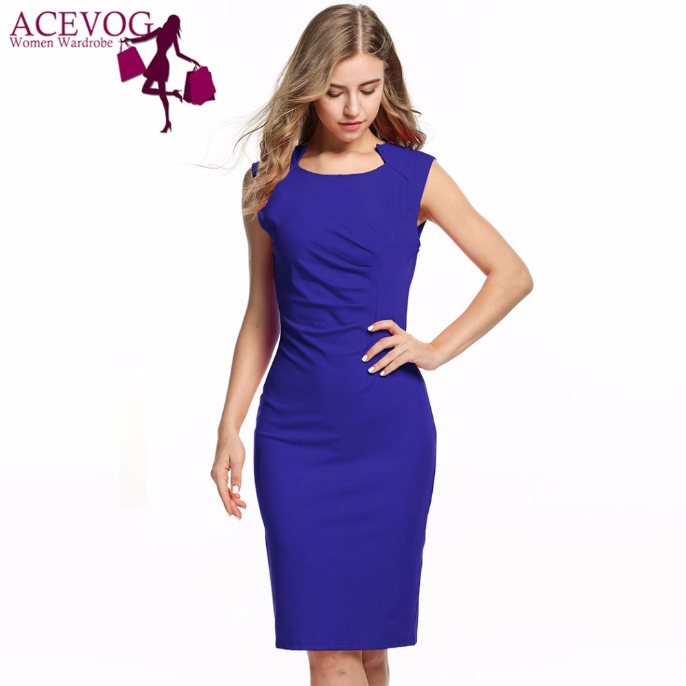 ACEVOG Women Sexy Vestidos 2018 Summer Casual Elegant Dresses Cap Sleeve Pleated Solid Slim Pencil Office Lady Dress