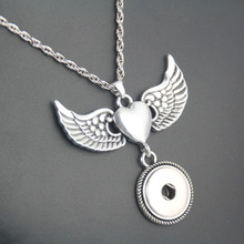 2016 Newest Wing snap button jewelry necklace  NE204 (fit 18mm 20mm snaps) free shipping free shipping metal grommet machine hand press rivet spot snap button mould tool fit