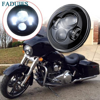 40W 7 Inch Black Led Headlight Motorcycle H4 HI Lo Low Beam Led 7 Round Daymaker