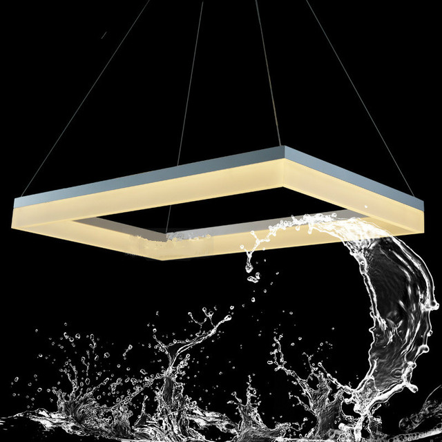 Newest Design LED Chandelier Light White Rectangle Lamp Acrylic Suspension Hanging Lustre Home Lighting Decoration