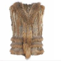 Factory Direct 12 Color Autumn And Winter Warm Real Rabbit Fur Vest Women S Three Raccoon