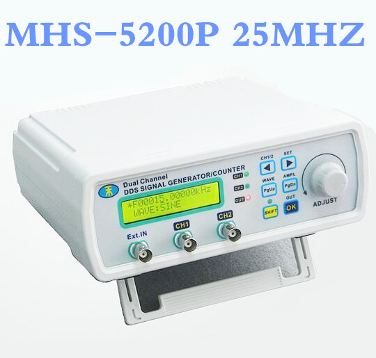 MHS-5200P Digital Dual-channel DDS Signal Source Generator  Function signal  Arbitrary waveform generator 25MHz Amplifier 5MHz hantek dso4202c digital storage oscilloscope 2ch 200mhz 1 channel arbitrary function waveform generator factorydirectsales