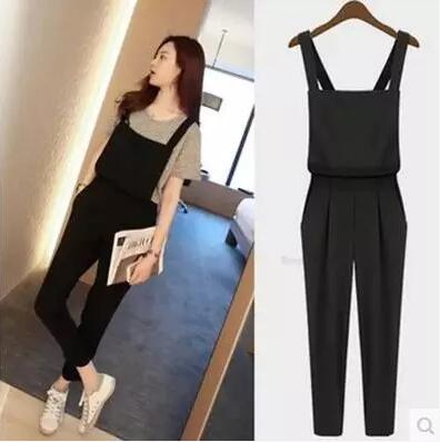 Women Fall And Spring Jumpsuits England Style Ankle Length Fashionable Comfortable Cotton Bodysuits Plus Size Black in Jumpsuits from Women 39 s Clothing
