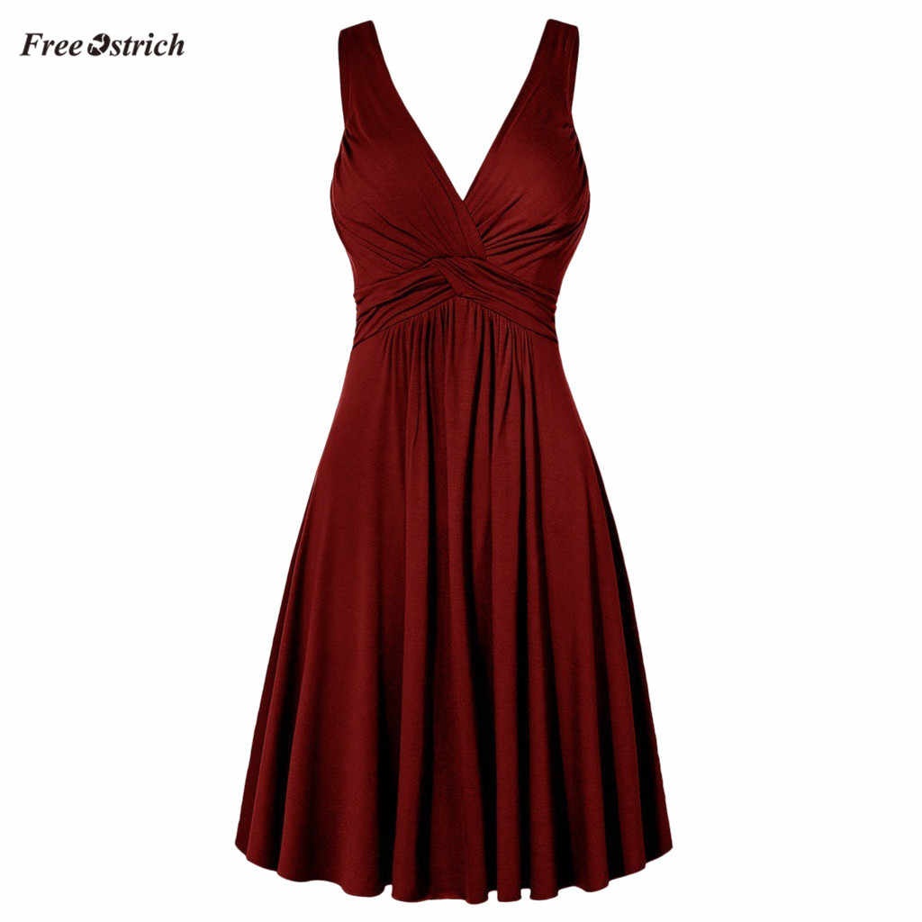 Free Ostrich Dress Women Plus Size V-neck Retro Sling Pleated Slim Flare solid Dress Cami solid summer Dresses women Dress