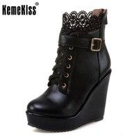 KemeKiss Rozmiar 34-43 Kobiety Krótki Wysokiej Platformy Kliny Buty Koronki buty Ciepłe Pluszowe Futro Botas Buty Kobiet W Zimie Kobiet Footwears