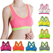 Women Seamless Fitness Yoga Tank Top Workout Gym Sports Bra Padded Racerback 43BP