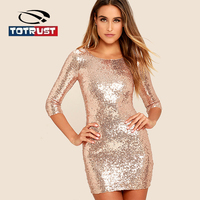 TOTRUST Vintage Sequined Dress Women 2018 Elegant Back V Neck Shining Night Club Party Dress Short Sleeve Mini Vestido Verano
