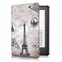 Case Voor Amazon Nieuwe Kindle 6.0 2019 10 Generatie Slim Print Lederen Auto Wakker Smart Sleep Cover Funda Coque + stylus Pen