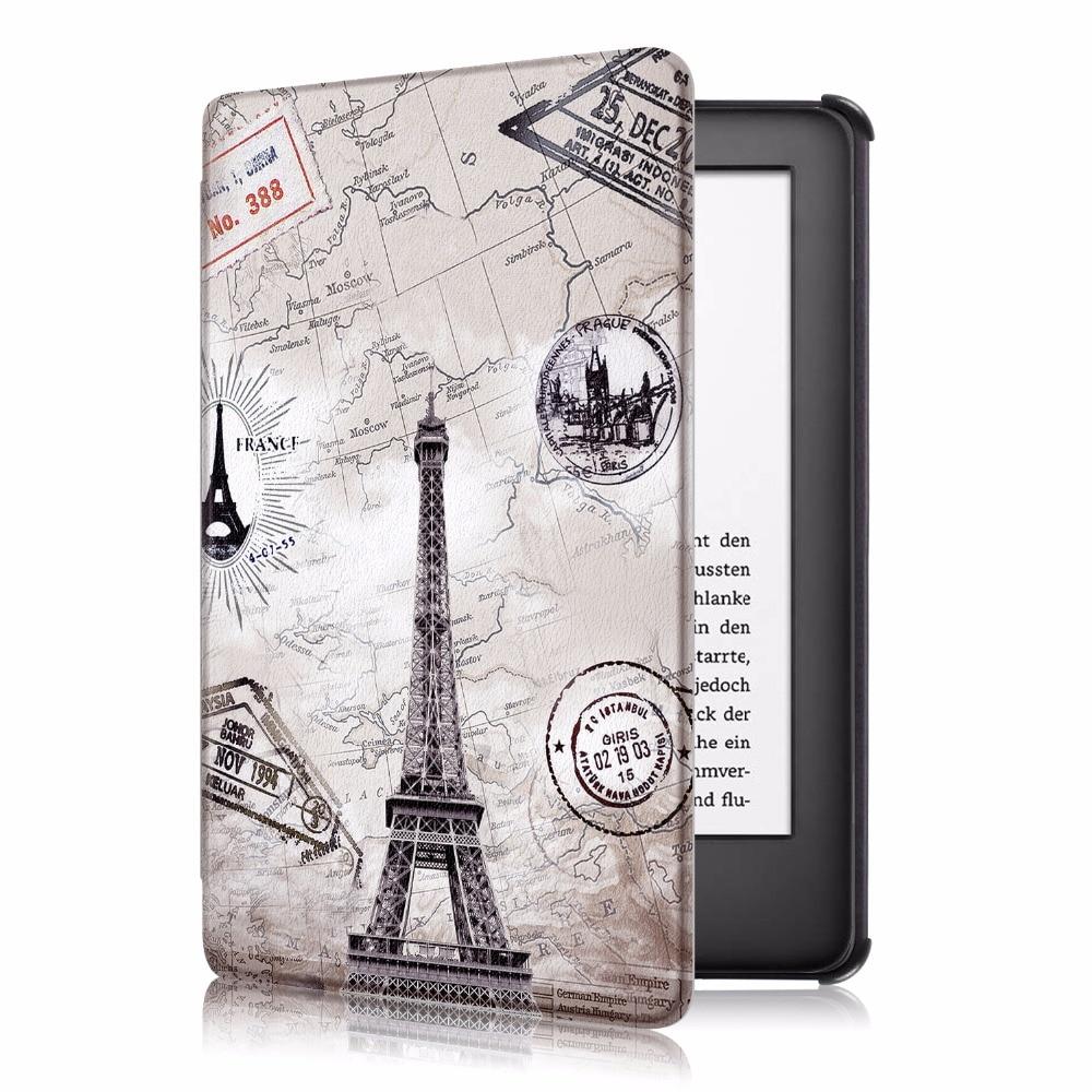 Case For Amazon New Kindle 6.0  2019 10 Generation Slim Print Leather Auto Awake Smart Sleep Cover Funda Coque + Stylus Pen