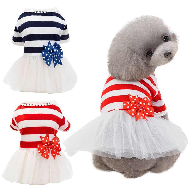 Summer Dog Dress Tutu Dress Pet Dog Clothes for Wedding Dress Stripes Skirt Puppy Clothing Spring Pet Clothes Chihuahua Yorkie