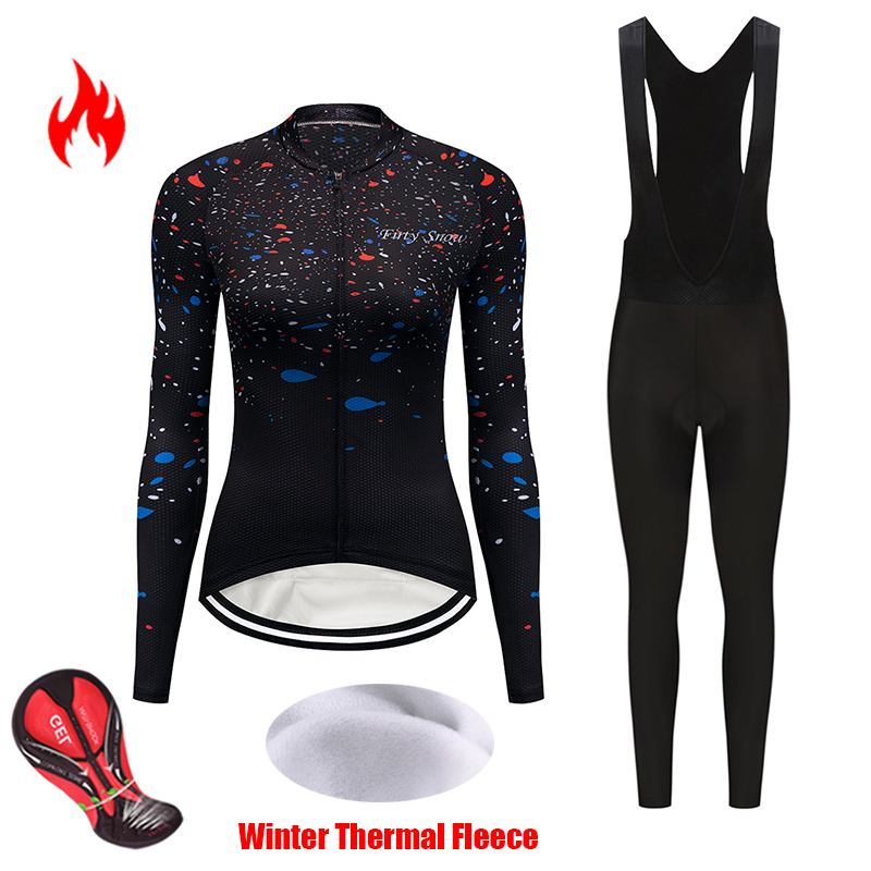 2019 Winter thermal fleece cycling jersey women's set team bicycle clothing triathlon suit sports maillot mtb bike clothes kit