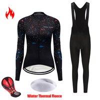 Spor ve Eğlence'ten Bisiklet Takımları'de 2020 kış termal polar bisiklet jersey kadın takımı takımı bisikletçi giysisi triatlon atleti spor maillot mtb bisiklet giyim seti