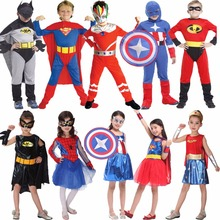 Umorden Halloween Costumes Kids Super Hero Spider Man Bat Costume Captain America Wonder Girl Cosplay for Girls Boys