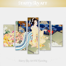 Artist Hand-painted Multiple Pieces Japan Style Kimono Lady Picture Decoration Japanese Chrysanthemum Flowers Painting for Decor