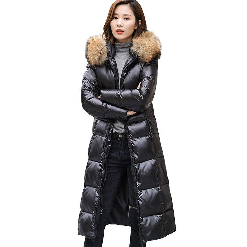 Down Jacket Big Fur Collar Padded Slim White Duck Down Coats Hooded Winter Plus Size 4XL 5XL 6XL Down Outwear Women Parka YP0805