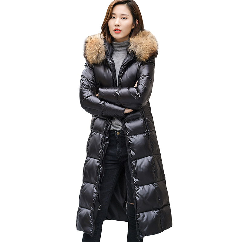 Down   Jacket Korean Big Fur Collar Padded Slim White Duck   Down     Coats   Hooded Winter Plus Size   Down   Outwear Women Parka YP0805