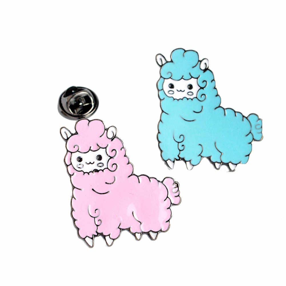 Kartun Hewan Indah Alpaka Kecil Domba Tombol Bros Pins Pink Denim Jaket Biru Bros Pin Lencana Hadiah Kartun Perhiasan