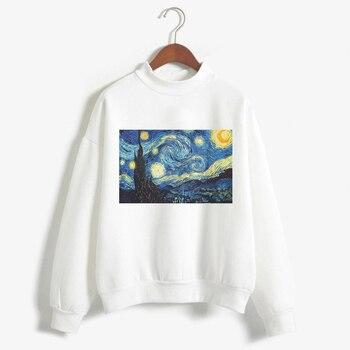 T חולצות ואן גוך הדפסה ארוך שרוול חולצה אופנה לבן נשים Tumblr חדש Femme חולצות חורף חמוד חולצת טי מקרית חולצות 2018
