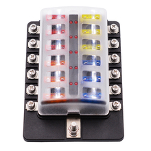 WUPP 12 Way Circuit Car Fuse Box Waterproof 32V Terminal Fuse Box Block Auto Car Fuse Holder With Led Indicator Sticker