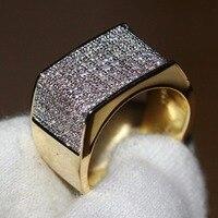 Размеры 8 13 Классический Проложить Установка Белый 5A Цирконий CZ Роскошные ювелирные изделия 10kt Gold Filled геометрический трапеции Для мужчин гр