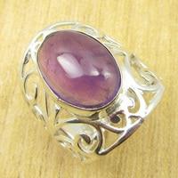 Amethisten EYE-CATCHING Ring Size US 5 3/4! Verzilverd Sieraden NIEUWE