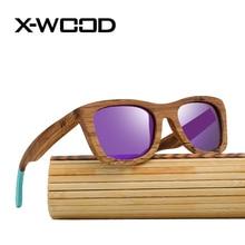 X-WOOD New Fashion Retro Classical Wood Sunglasses Men Women Polarized Sunglasses  Wooden Sunglass Purple Mirror Sun Glasses
