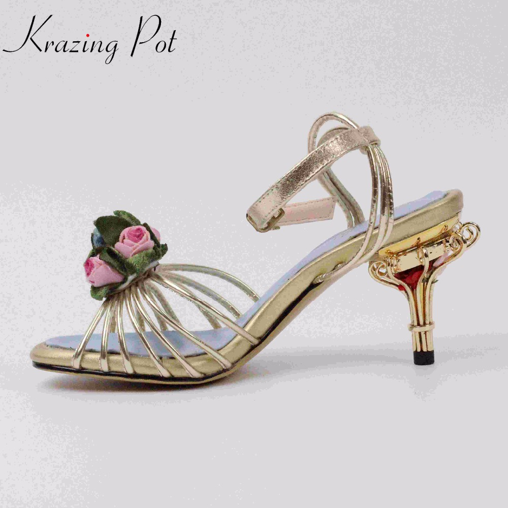 Krazing Pot genuine leather bird cages thin high heels peep toe flowers ankle straps party women sandals High-end custom L35 krazing pot new genuine leather peep toe ankle straps rivets fashion women sandals women square high heels summer lady shoes l20