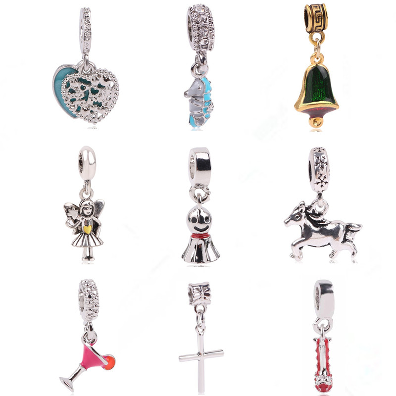 Ranqin Silver Original European Angel Girl Sunny Doll Cocktail Personality Mace Fit Pandora Charms Bracelets DIY Women Jewerly