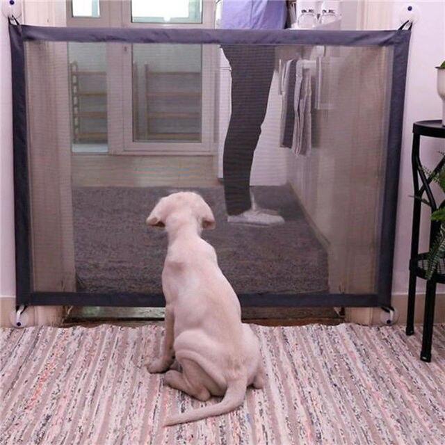 תינוק שער נייד מתקפל בטוח משמר כלב שער הגנת בטיחות מוצרים רשת קסם לחיות מחמד תינוק שער גדר גאוני רשת על טלוויזיה