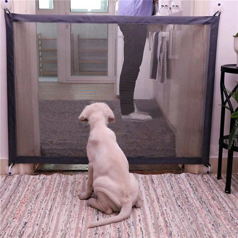 Baby Gate Portable Folding Safe Guard Dog Gate Protection Safety Products Mesh Magic Pet Gate Baby Fence Ingenious Mesh On TV