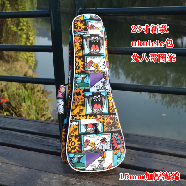 "2015 new fashion personality cartoon 23""24inch thicker guitarra gig case ukulele bag small guitar backpack children pack  bags"
