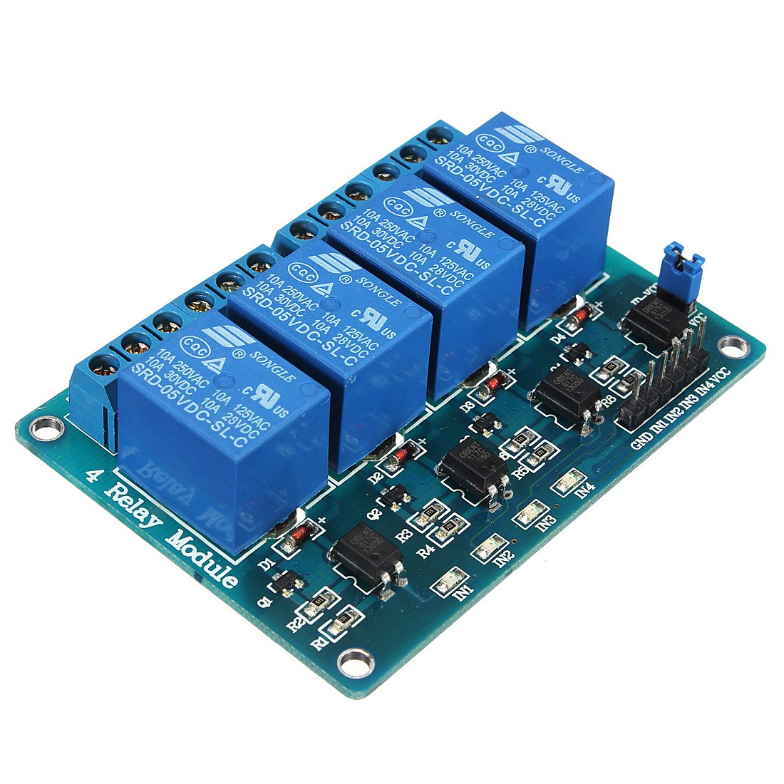 New Electric MSP430 4 Channel 5V Relay Module Low Strigger For Arduino PIC ARM DSP AVR BlueNew Electric MSP430 4 Channel 5V Relay Module Low Strigger For Arduino PIC ARM DSP AVR Blue