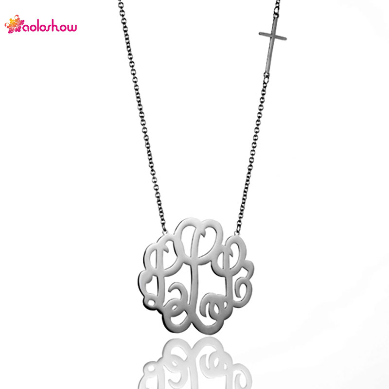 aoloshow women monogram necklace stainless steel 3 letters silver 5cm with sideways cross chain pendant letter