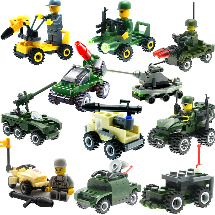 11 Set Building Blocks Toys Military Model Tank Rocket