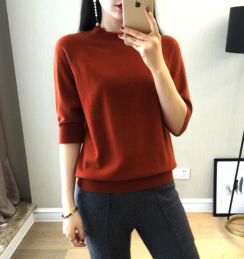 2018 New Style Women's Knitted Cashmere Half Sleeve Sweater Half High Collar Slim Style Solid Wool Color Pullover Free Shipping