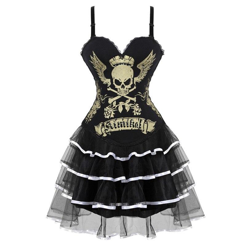 Corsets de poitrine à imprimé crâne chaud pour femmes robe à lacets Corset Showgirl Clubwear Lingerie Halloween Costume Corset Burlesque