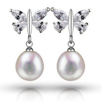 Elegant Butterfly Women AAAA 8 9mm Real Natural Freshwater Pearl Stud Earrings Fashion Luxury Zircon 925