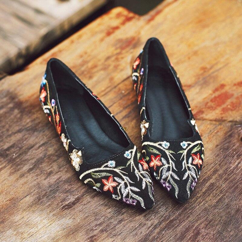 Chaussures Confortable En Mode Daim Femelle National Broderie Casual Automne Noir Pointu De Appartements Dames Bout Vache Simples Femmes A6gnxn
