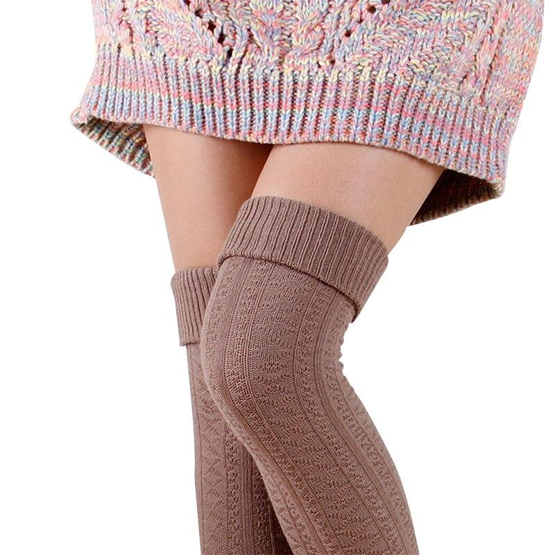Las mujeres de alta calidad de algodón medias sexy muslo sobre las calcetines hasta la rodilla para mujer de color sólido grueso calcetines largos cálidos s342
