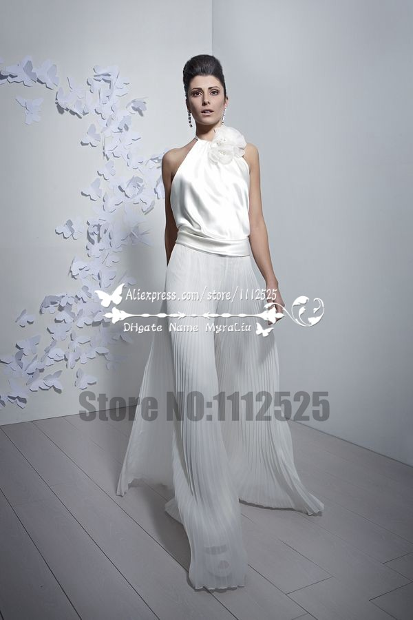 9de88a644f2a AWP-1061 Charming bridal jumpsuit Halter wide legs accordion pleats pants  culottes