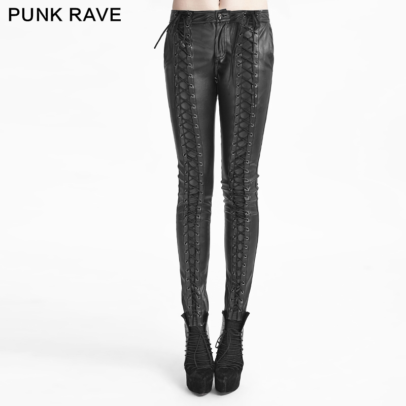 Punk Rave Gothic Strap Leather Pants Skinny Casual Women Pants Solid Button Leggings K-229 thick strap button up skinny bodysuit