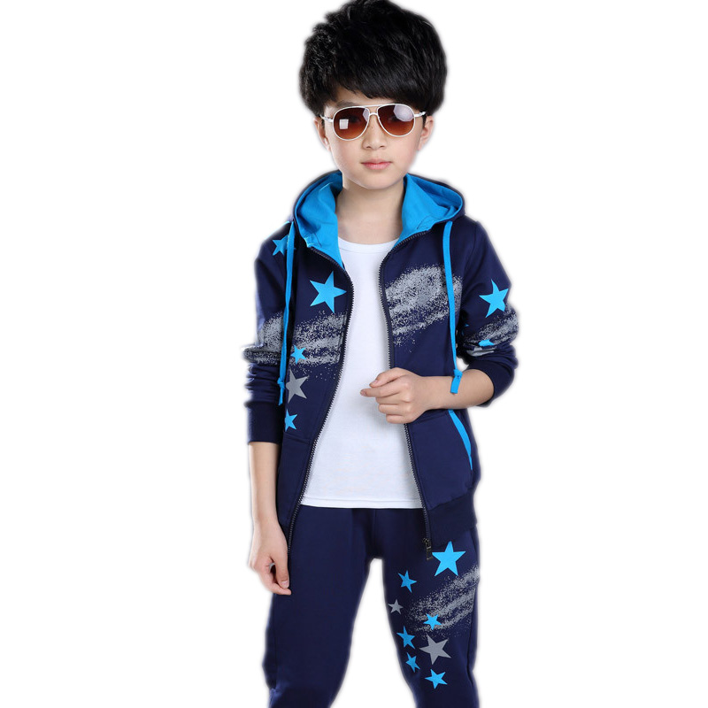 Sports Suits For Big Boys Clothing Sets Cotton Geometric Printed Boys Tracksuits Spring Autumn Hooded Teens Sportswear Outfits