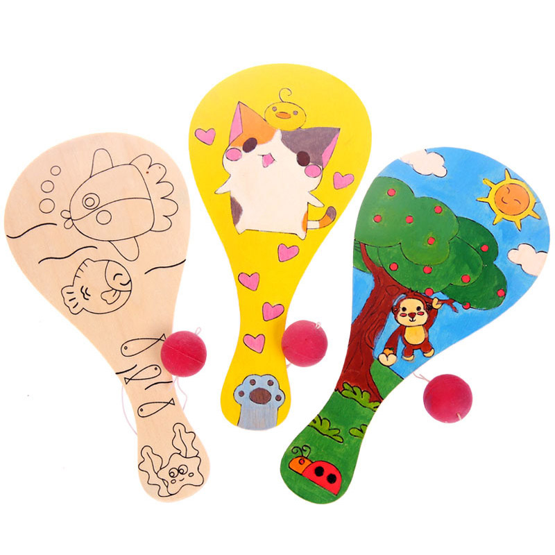 Wooden Racket Game toy Teaching Kindergarten Manual Diy Early Learning Education Toys Montessori Teaching Aids Craft Toys