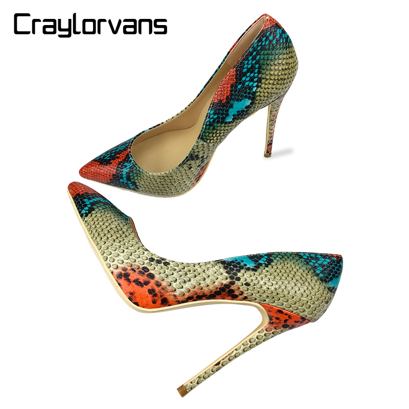Craylorvans <font><b>Top</b></font> <font><b>Quality</b></font> 12CM <font><b>Heel</b></font> Height Wedding Party <font><b>Women</b></font> <font><b>Shoes</b></font> <font><b>2018</b></font> Fashion <font><b>Sexy</b></font> <font><b>Women</b></font> <font><b>Pumps</b></font> Red Snake Pointed <font><b>High</b></font> <font><b>Heels</b></font> image