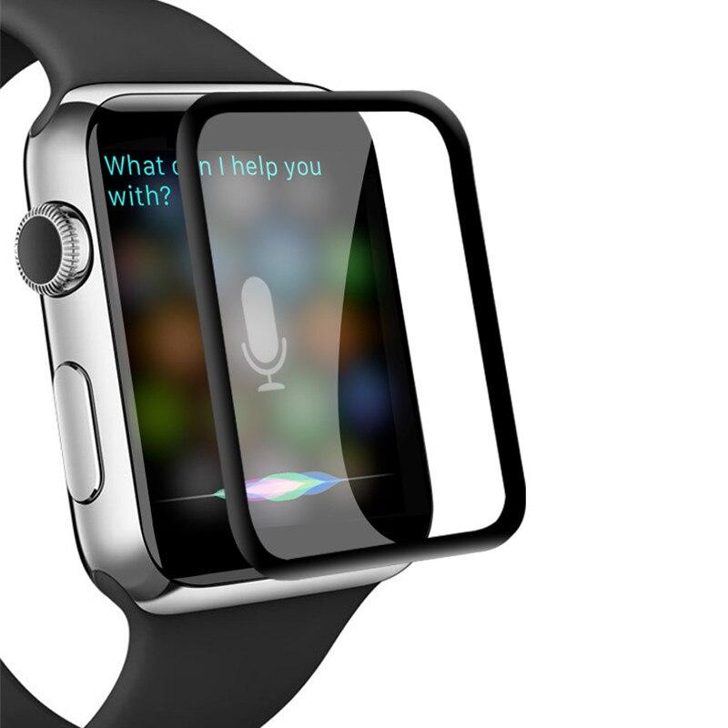 3D защитная пленка из закаленного стекла с закругленными краями для Apple Watch 3 2 1 38 мм 42 мм Защита экрана для iWatch 4 40 мм 44 мм полный клей
