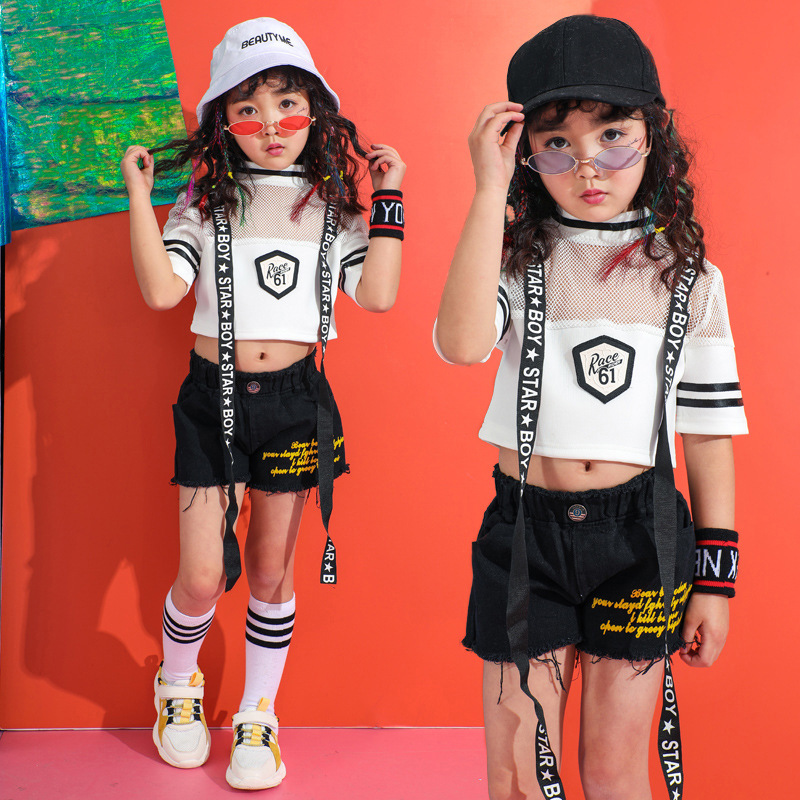 Kids Hip Hop Dance Clothing For Girls Boys Jazz Ballroom Dancing Costumes White Casual T Shirt Tops Jogger Short Pants Outfits